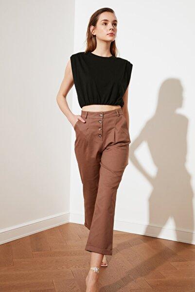 TRENDYOLMİLLA Kahverengi Havuç Duble Paçalı Pantolon TWOSS20PL0015