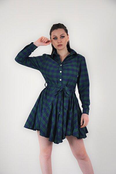 lovebox Kadın Yeşil Kuşak Detaylı Ekose Desenli Gömlek Elbise