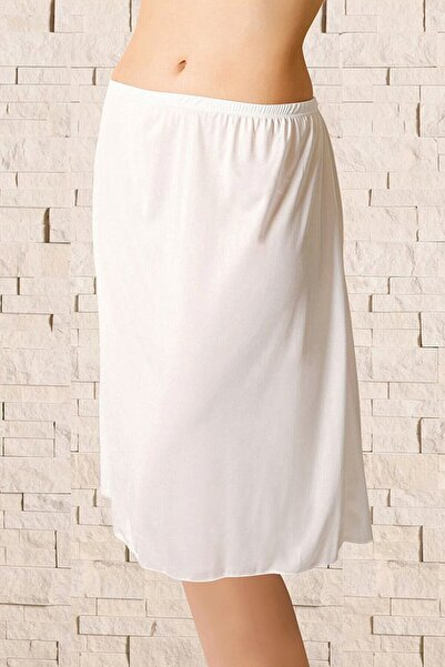 Anıl Lingerie Kadın Beyaz Diz Boyu Uzun Jüpon Anıl 616