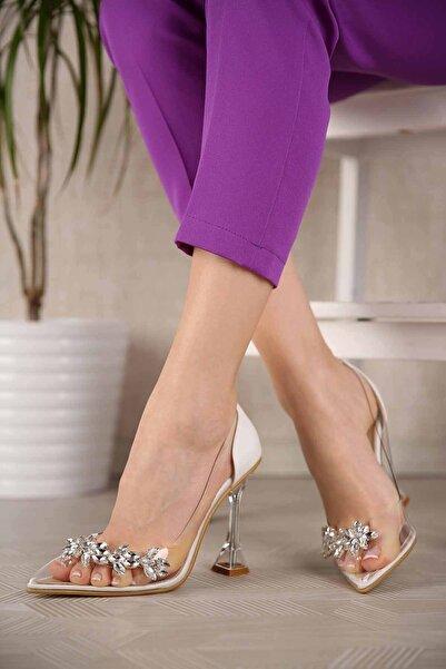 Ccway Kadın Beyaz Cilt Taşlı Şeffaf Topuklu Ayakkabı
