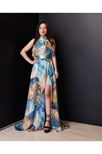 İlgün Moda Kadın Turkuaz Renkli Uçuş Uçuş Şifon Abiye Elbise