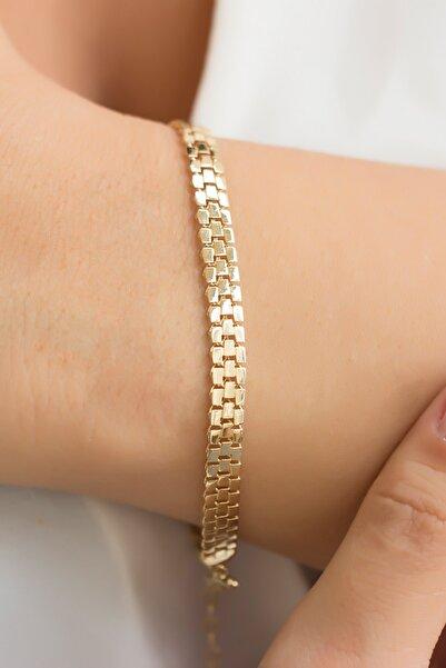 Minaliva Kadın 14 Ayar Sarı Altın Dizayn Bileklik