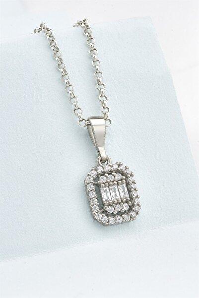jelux silver Pırlanta Montür Zirkon Baget Taşlı Gümüş Kolye