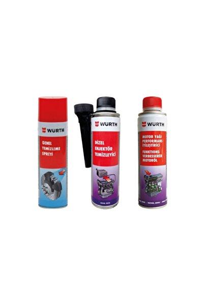 Würth Dizel Yakıt Sistem Ve Enjektör Temizleyici+ Genel Temizleme Sprey+ Motor Yağ Performans Iyileştirici