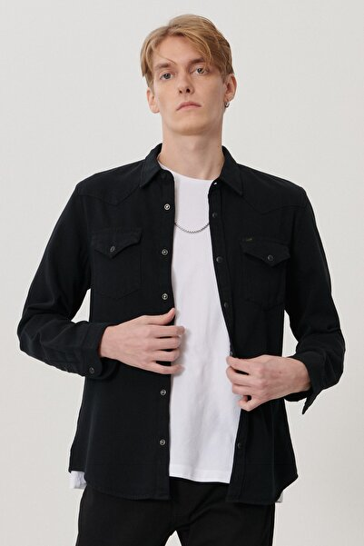 Lee Erkek Siyah Slim Fit Uzun Kol Gömlek