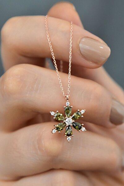 Papatya Silver 925 Ayar Gümüş Yeşil Taşlı Kamelya Çiçeği Kadın Kolye