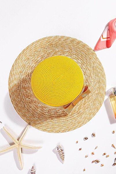 İlhan Işık Kadın Fiyonklu Çift Renk Hasır Plaj Yazlık 56 Cm Fötr Şapka