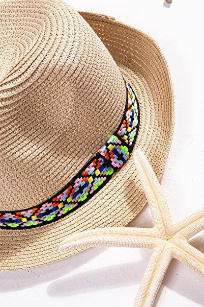 İlhan Işık Kadın Desenli Kuşaklı Hasır Plaj Yazlık 57 Cm Fötr Şapka
