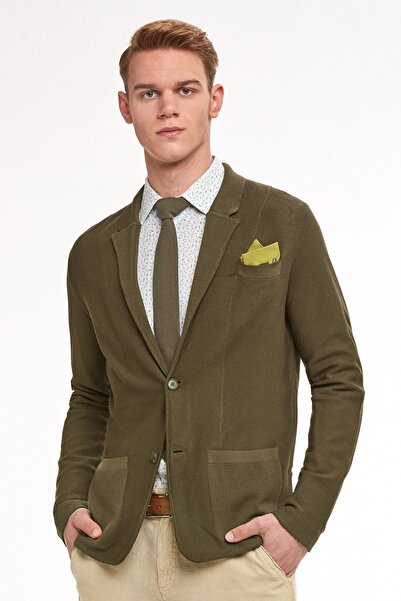 Hemington Erkek Haki Italyan Pamuk Triko Yazlık Ceket
