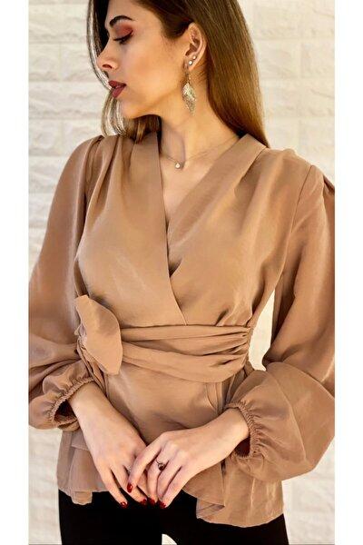 SEDA FİDAN Kuşaklı Kruvaze Bluz Camel