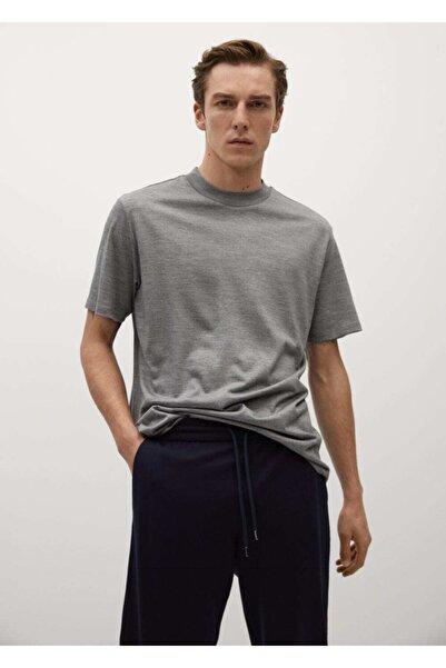 MANGO Man Erkek Gri Teknik Yün Kumaşlı Tişört