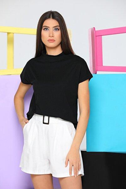 julude Kadın Siyah Yarım Boğazlı Crop T-shirt