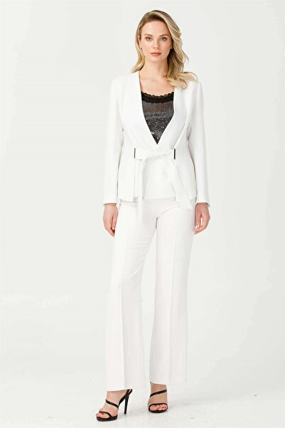 Moda İlgi Beli Kuşaklı Şal Yaka Ceket