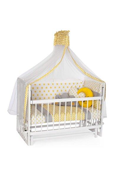 Bambidoo Beyaz 60x120 Anne Yanı Beşik Ahşap Sallanır Beşik 4 Kademeli - Sarı Yıldız Uyku Setli Yataklı