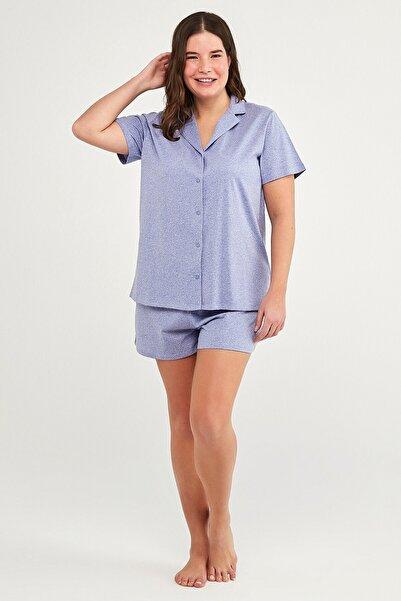 Penti Violet Dotted Gömlek Şort Takım