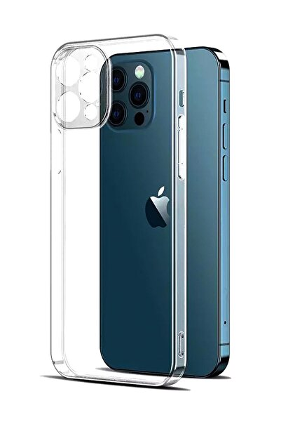 CEPSTOK Iphone 12 Pro Uyumlu Şeffaf 3d Kamera Lens Korumalı Tıpalı Şarj Korumalı Silikon Kılıf