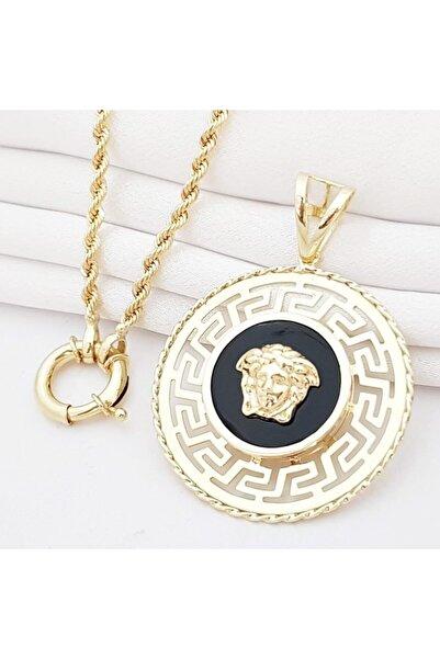 altınplaza Kl06658h Halat Uzun Zincir Büyük Madalyon Aslan Altın Kolye