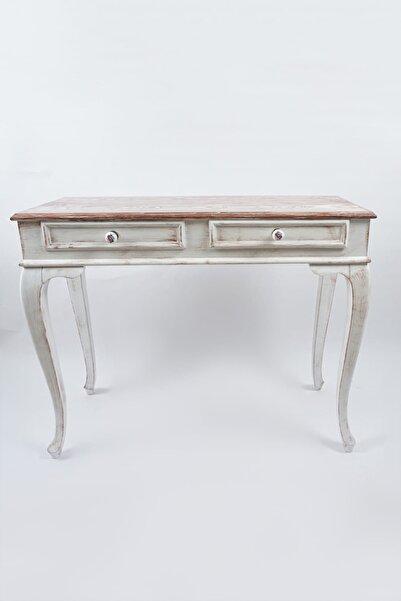 Masif Art 120 cm Seme Beyaz Patine Eskitme Dresuar Çekmeceli Makyaj Masası