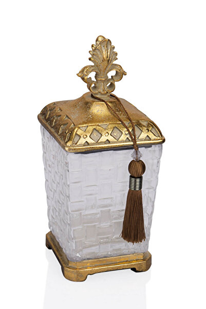 Porio Altın Eskitme Cam Kare Dekoratif Kavanoz 13x13x31