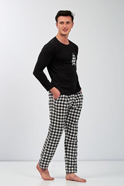 Moda Clubu Erkek Beyaz Siyah Ekoseli Yeni Yıl Pijama Takımı