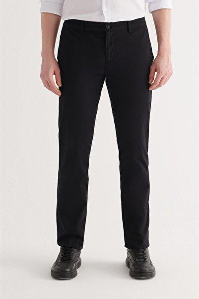 Avva Erkek Siyah Yandan Cepli Armürlü Slim Fit Pantolon A11y3029