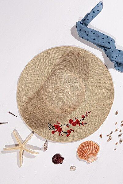 İlhan Işık Kadın Fiyonklu Yazı Işlemeli Hasır Plaj Yazlık 57 Cm Fötr Şapka