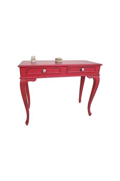 Masif Art Marie 120 cm Kırmızı Eskitme Dresuar Çekmeceli Makyaj Masası Patine Boyalı