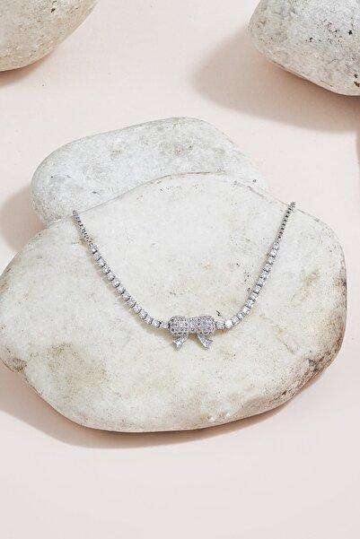 ZİNDİ Kadın Kurdela Model Taşlı Bileklik Gümüş Rengi K-3051052-040