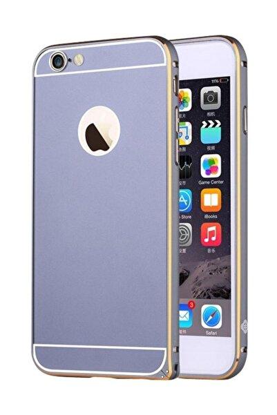 Totu Design Gemini iPhone 6 / 6S Çift Katmanlı Dark Silver Metal Kılıf