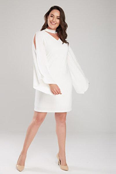 Kadın Ekru Kol Detaylı Elbise 17LB9098
