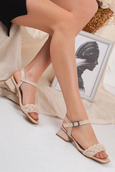 Gezegen Kadın Bej Örgülü Bilekten Bağlama 3 Cm Topuklu Ayakkabı