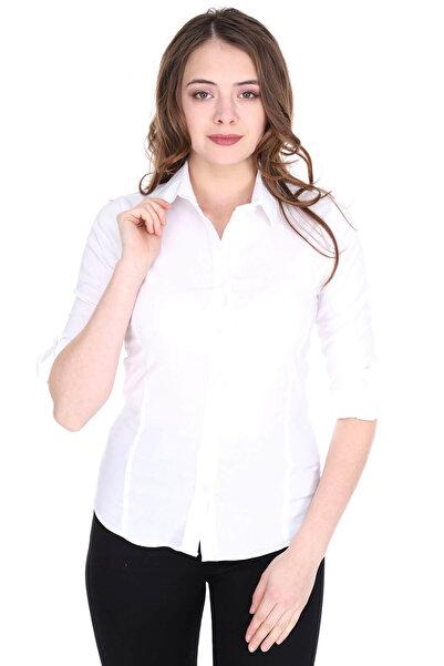Patiska Kadın Beyaz Klasik Gömlek 1265797