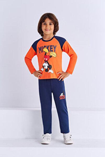 Mickey & Minnie Mouse Lisanslı Erkek Çocuk Pijama Takımı Oranj