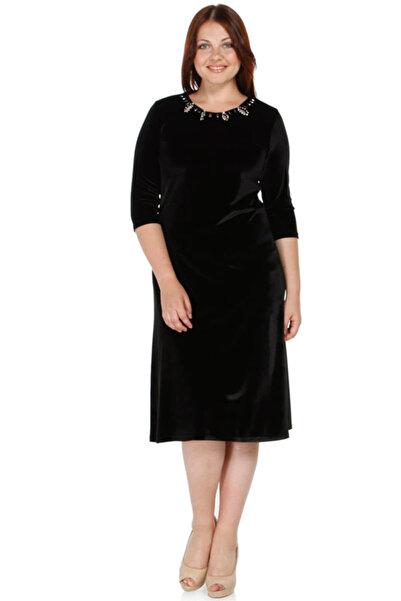 Nidya Moda Kadın Siyah Taş İşli Kadife Abiye Elbise 4072AS