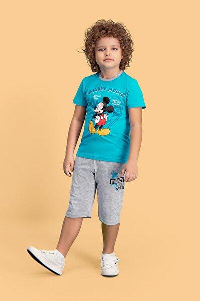 Mickey Mouse Mickey & Minnie Mouse Lisanslı Deniz Mavisi Erkek Çocuk Kapri Takım