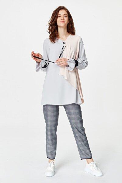 Mizalle Kadın Gri Önü Bağcıklı Tasarım Bluz 19YGMZL1012003