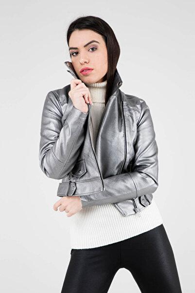 Vero Moda Kadın Gümüş Deri Ceket 10205054