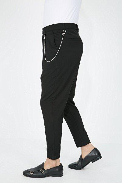 Fc Plus Siyah Pileli Dar Paça Likralı Erkek Pantolon - Slım Fıt