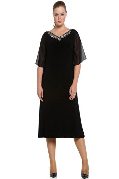 Nidya Moda Büyük Beden Siyah Şifon Kol Taşlı Abiye Elbise-4053s