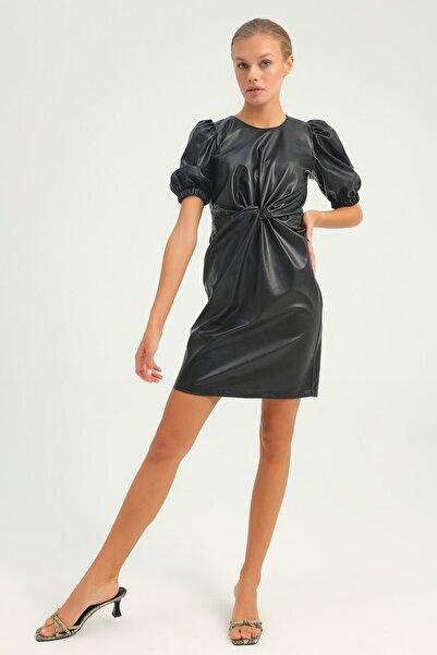 Quzu Düğüm Detaylı Balon Kol Deri Elbise Siyah