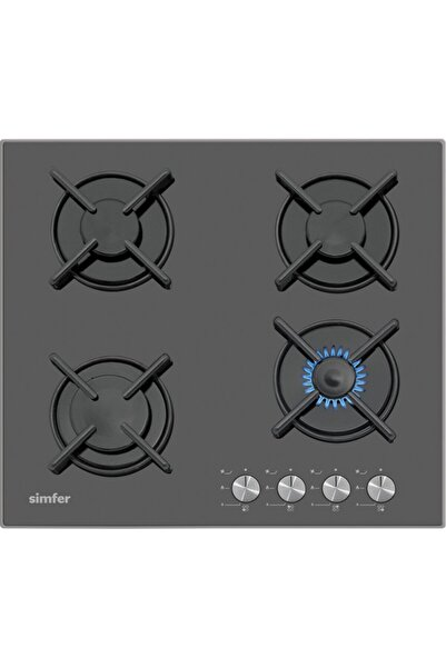 Simfer 3031 4 Gözü Gazlı Siyah Setüstü Cam Ocak (Illk Montajda Ücretsiz Lpg Veya Doğalgaz Dönüşümü)