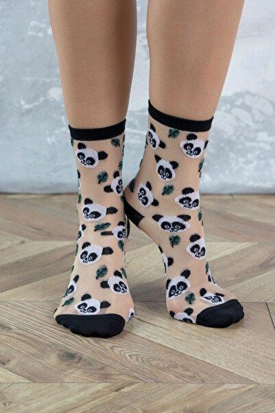 Katia&Bony Kadın Ten Rengi Panda Desenli Soket Çorap