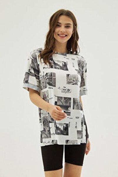 Kadın Beyaz Gri Desenli Yırtmaçlı Oversize Kısa Kollu Tişört P21s201-2121