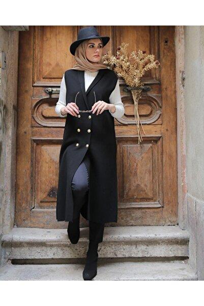 Hüma Sultan Kadın Siyah Altın Varak Düğmeli V Yaka Çelik Örme Yelek
