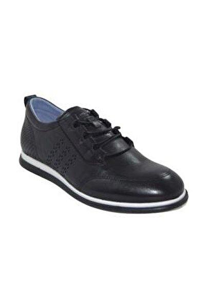 Erkek Siyah Deri Ortopedik  Casual Ayakkabı