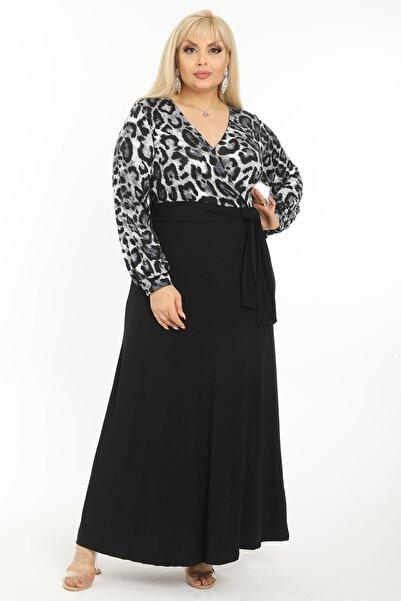 Mooi XXL Kadın Gri Leopar Desenli Maksi Uzun Kol Büyük Beden Elbise