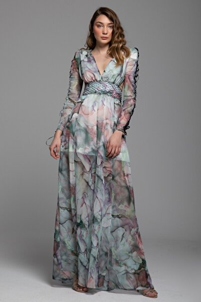 Tuba Ergin Kadın Yeşil aşlı File Kemer Detaylı Desenli Maxi Pela Elbise