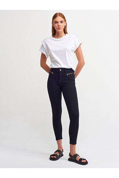 Dilvin Kadın Siyah Önü Fermuarlı Likralı Pantolon