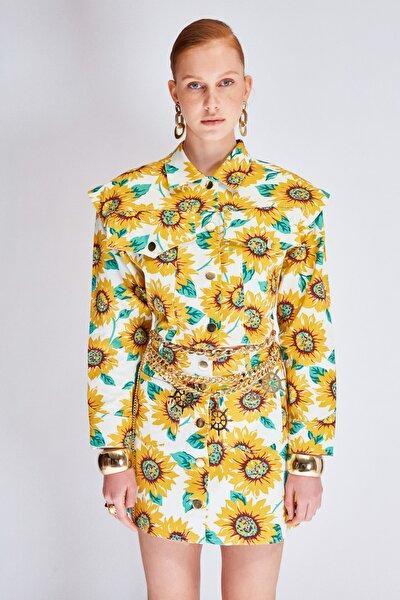 Raisa&Vanessa for Trendyol Çok Renkli Çiçek Desenli Gabardin Crop Ceket TDPSS21CE0062