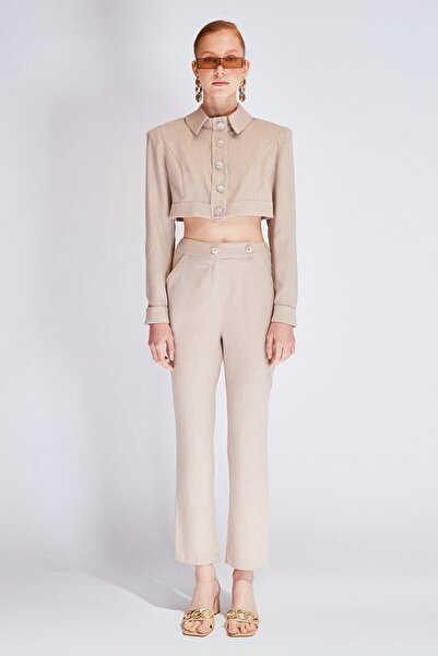 Raisa&Vanessa for Trendyol Bej Taşlı Düğme Detaylı Pantolon TDPSS21PL0122